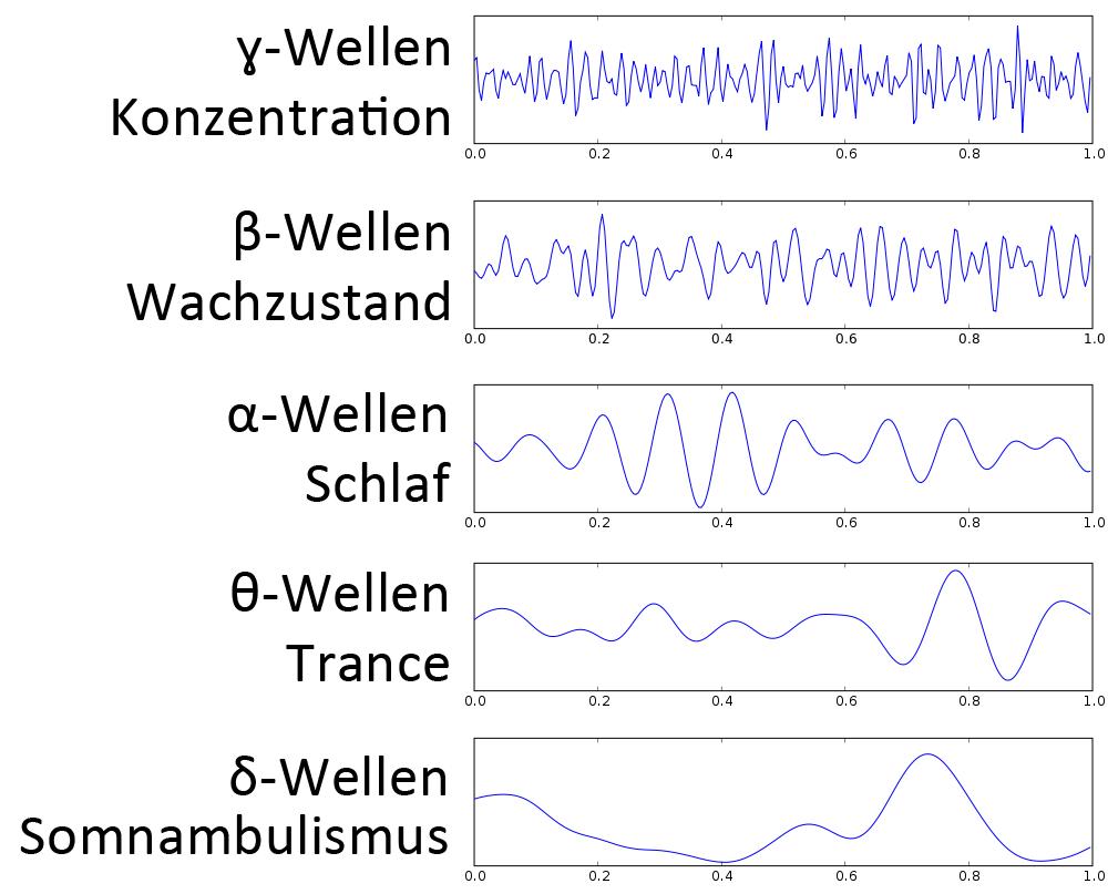 Frequenzbänder von Hirnwellen